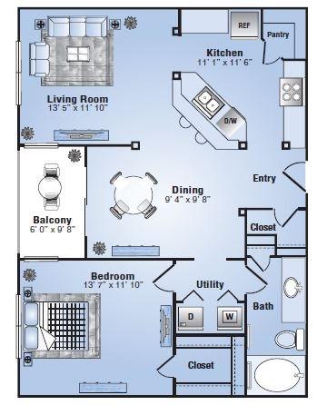 839 sq. ft. Tuscon floor plan