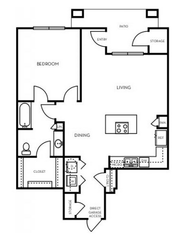910 sq. ft. A3.3G floor plan