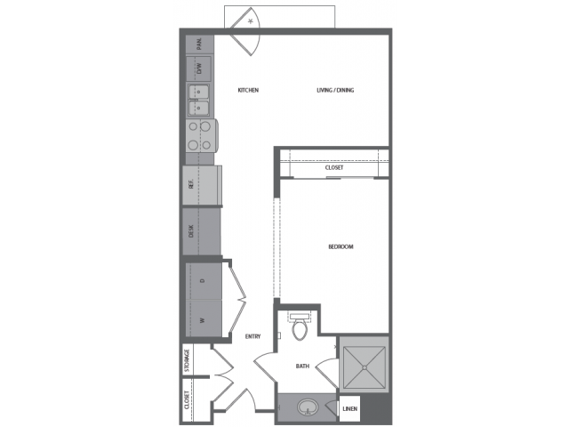 479 sq. ft. A floor plan