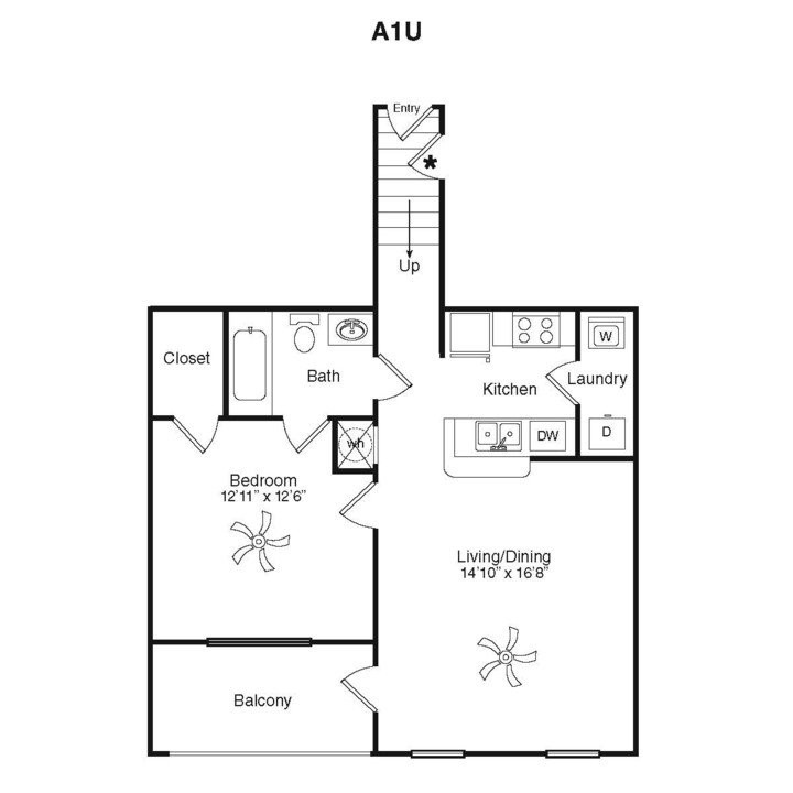 814 sq. ft. A1B-1G floor plan