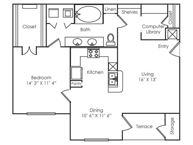 860 sq. ft. A3 floor plan