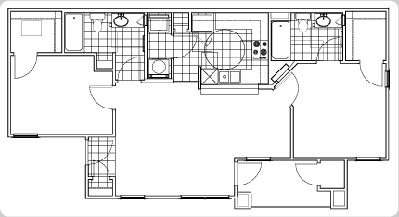 917 sq. ft. Quatar floor plan