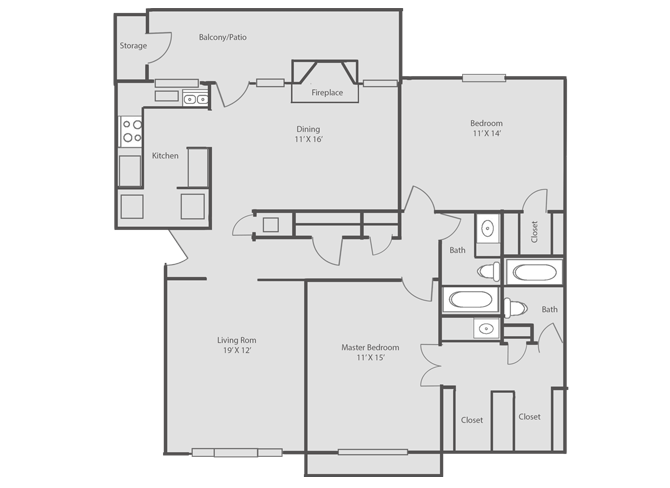 1,223 sq. ft. floor plan