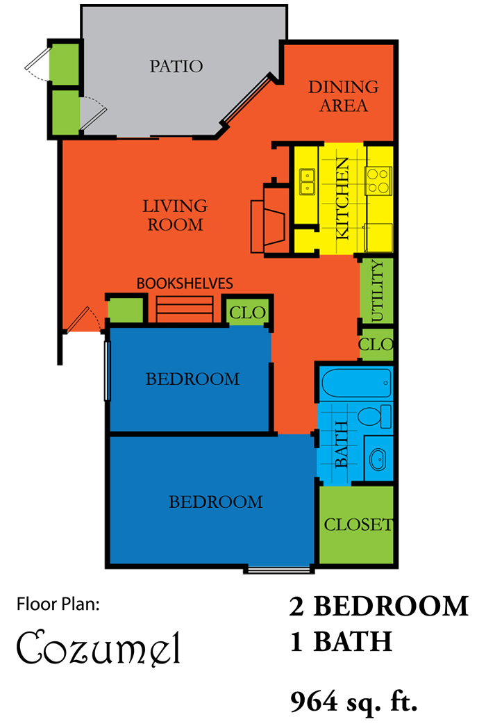 964 sq. ft. COZUMEL floor plan
