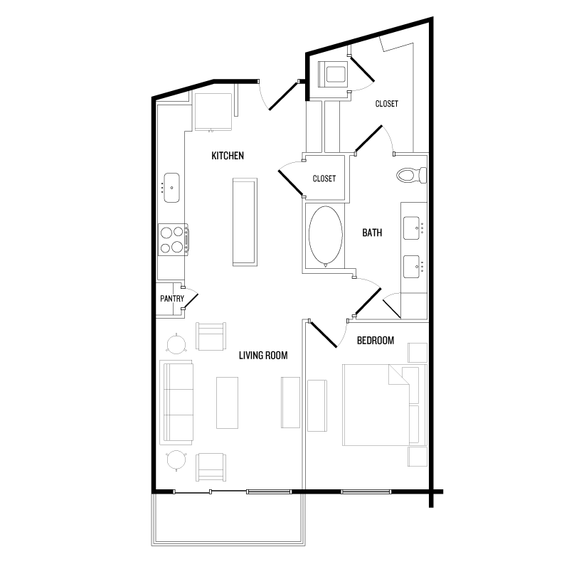 751 sq. ft. A6 floor plan