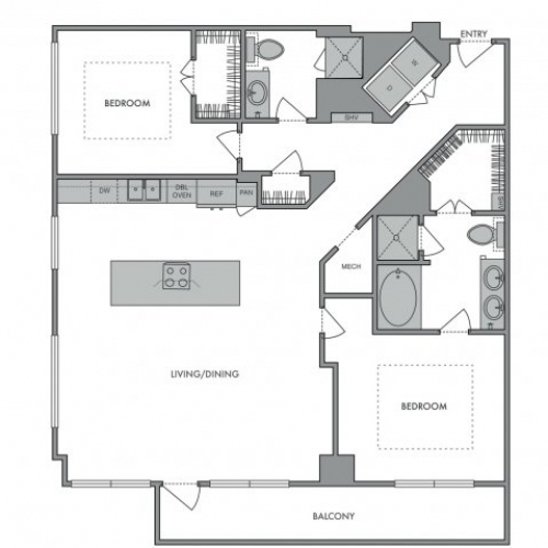 1,330 sq. ft. O floor plan