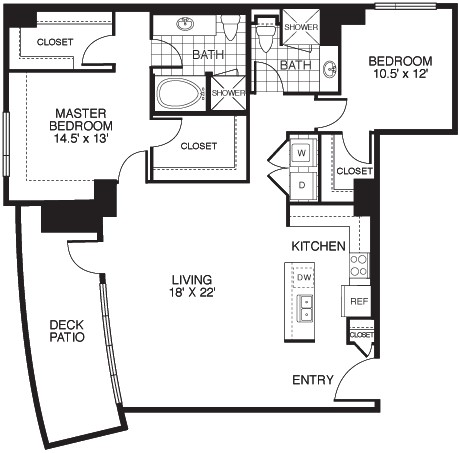 1,389 sq. ft. B1/TOWER floor plan