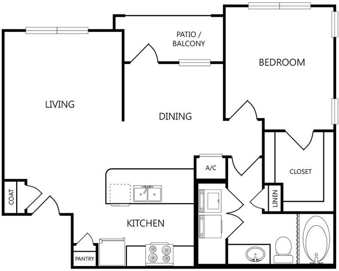 763 sq. ft. A2 floor plan