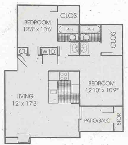 1,021 sq. ft. B1 floor plan