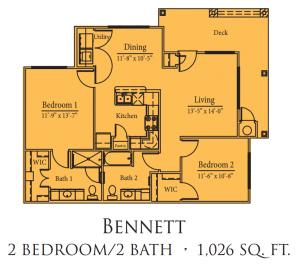 1,026 sq. ft. Bennett/Mkt floor plan