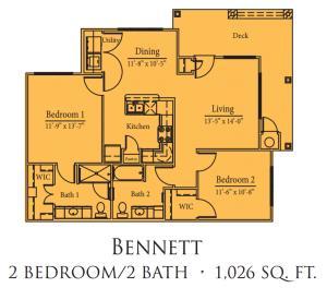 1,026 sq. ft. Bennett/50% floor plan