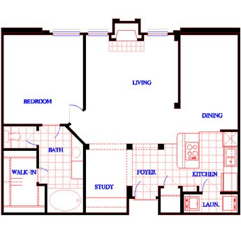 892 sq. ft. A2 floor plan