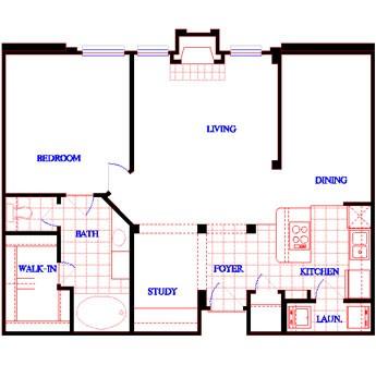 892 sq. ft. A2 floor plan