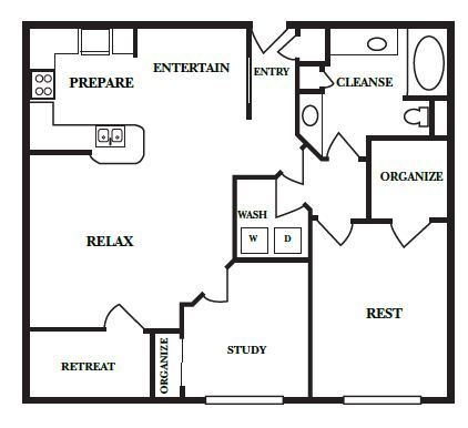 985 sq. ft. C floor plan
