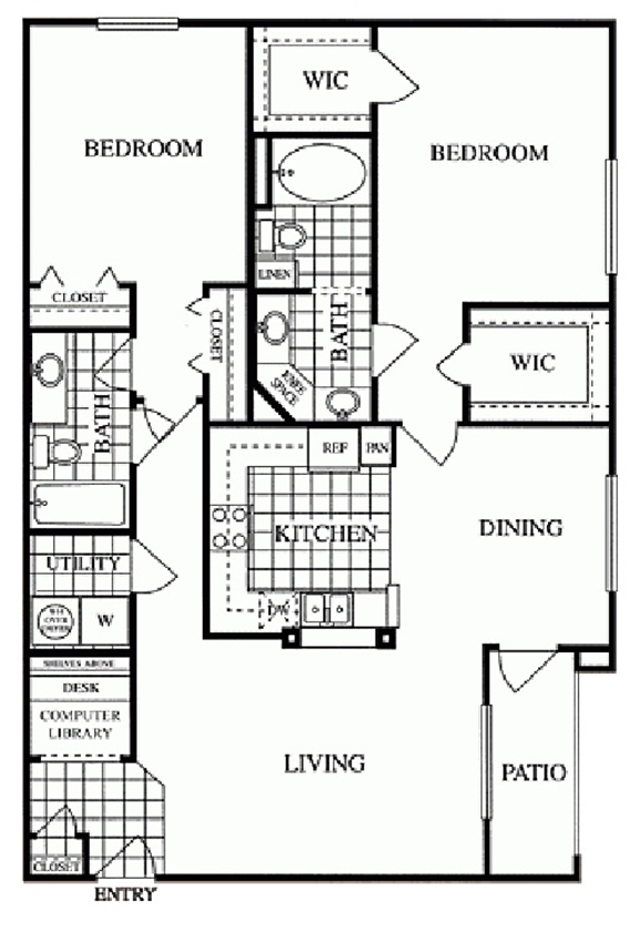 1,296 sq. ft. Essex/H floor plan