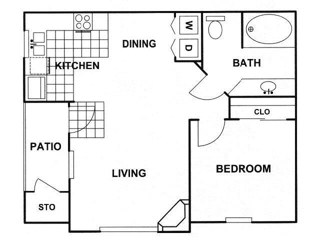 663 sq. ft. B floor plan