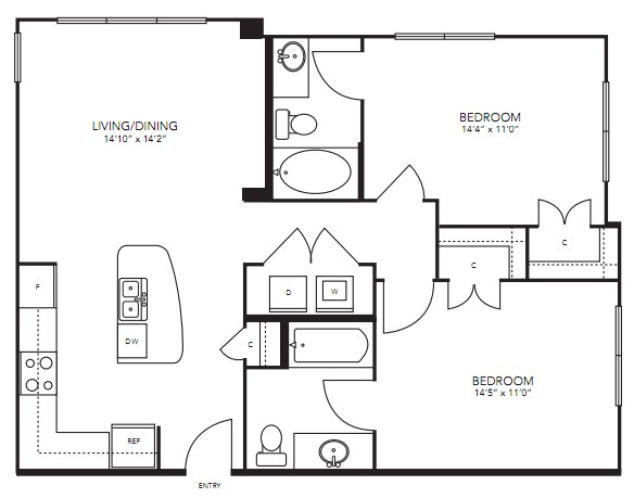 982 sq. ft. B4 floor plan