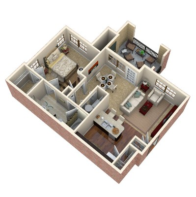 758 sq. ft. Emerald floor plan