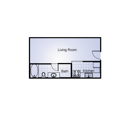 414 sq. ft. floor plan