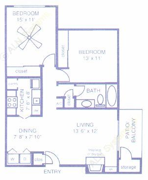 840 sq. ft. B2 floor plan