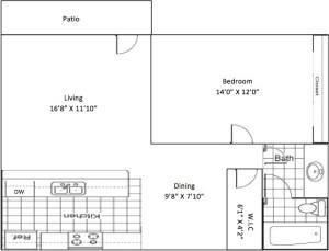 695 sq. ft. floor plan