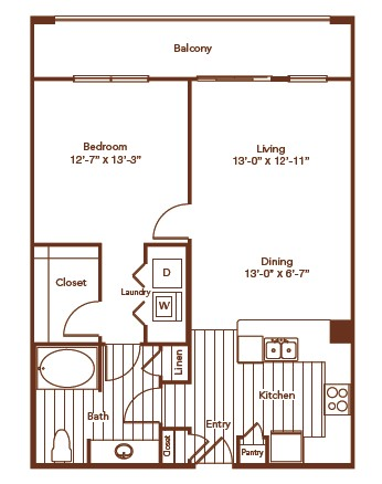 848 sq. ft. floor plan