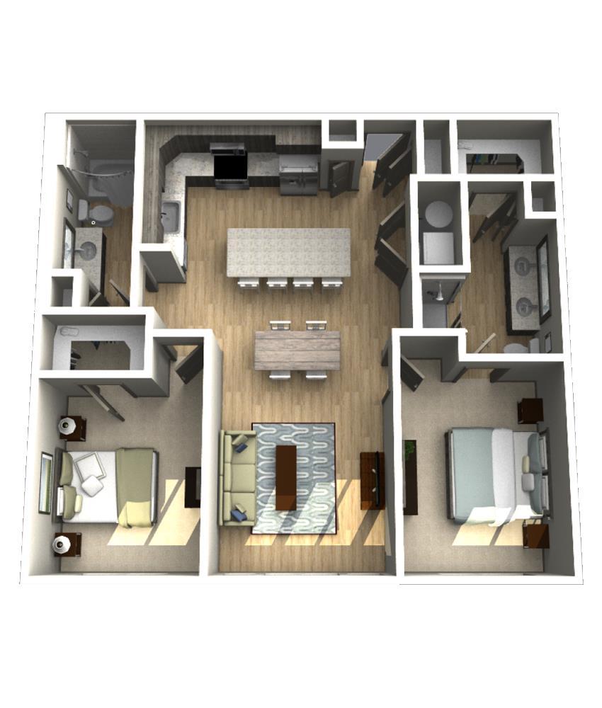 1,207 sq. ft. B4 floor plan
