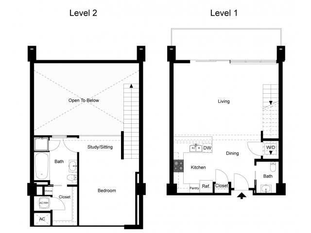 1,055 sq. ft. Loft 1C floor plan