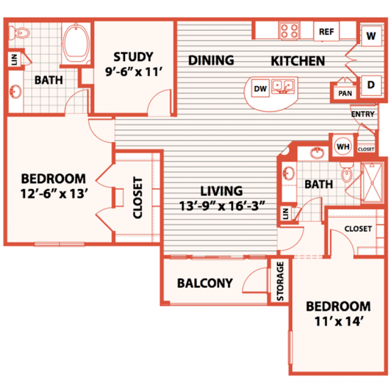 1,411 sq. ft. D1 floor plan