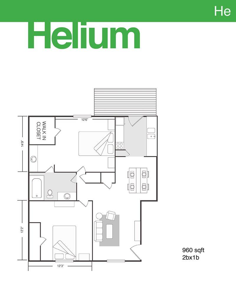 960 sq. ft. Helium floor plan