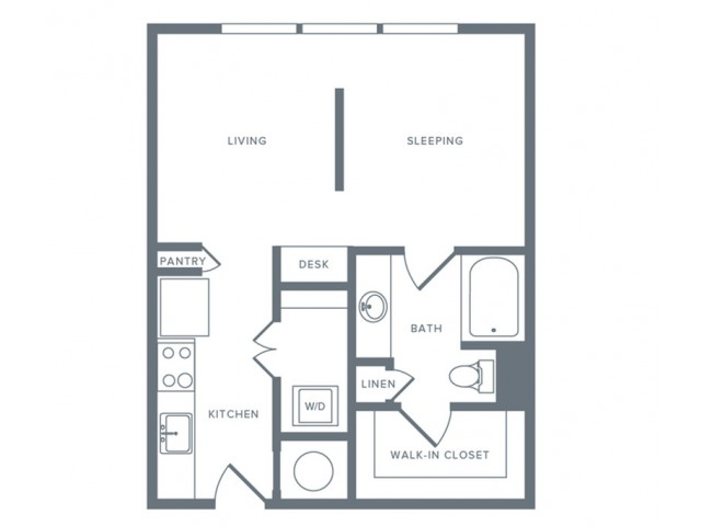 581 sq. ft. S1 floor plan
