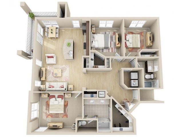1,415 sq. ft. C2 floor plan