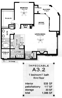 939 sq. ft. A32 floor plan