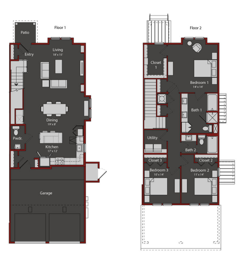 1,896 sq. ft. TH2 floor plan