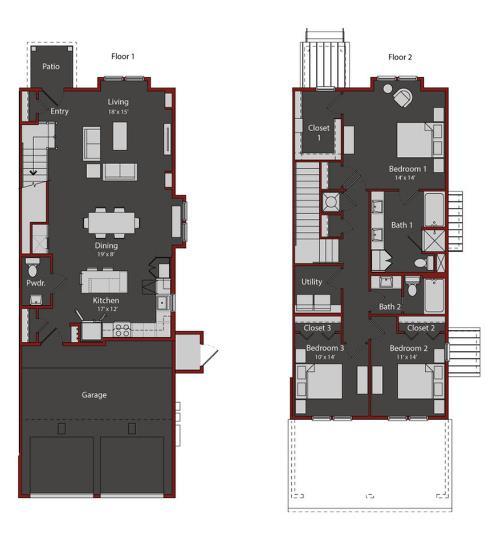 1,896 sq. ft. TH2 floor plan