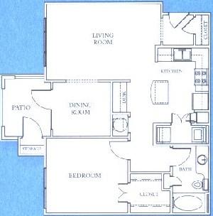 816 sq. ft. A3 floor plan