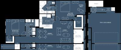 1,381 sq. ft. B6 floor plan