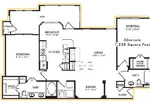 1,225 sq. ft. Juniper floor plan