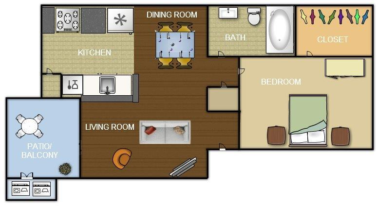 545 sq. ft. floor plan