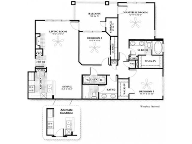 1,284 sq. ft. to 1,365 sq. ft. C w/GAR floor plan