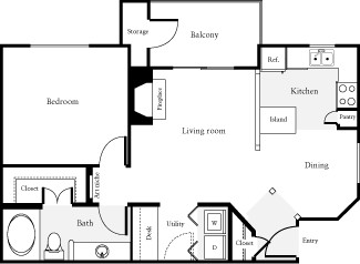 774 sq. ft. Benton floor plan
