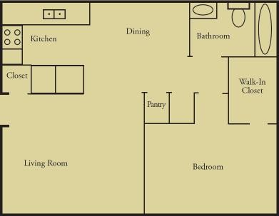 630 sq. ft. A1 floor plan