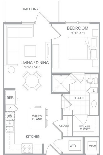 660 sq. ft. A1 floor plan