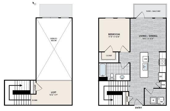 983 sq. ft. A8 floor plan