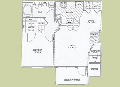 650 sq. ft. Azul floor plan