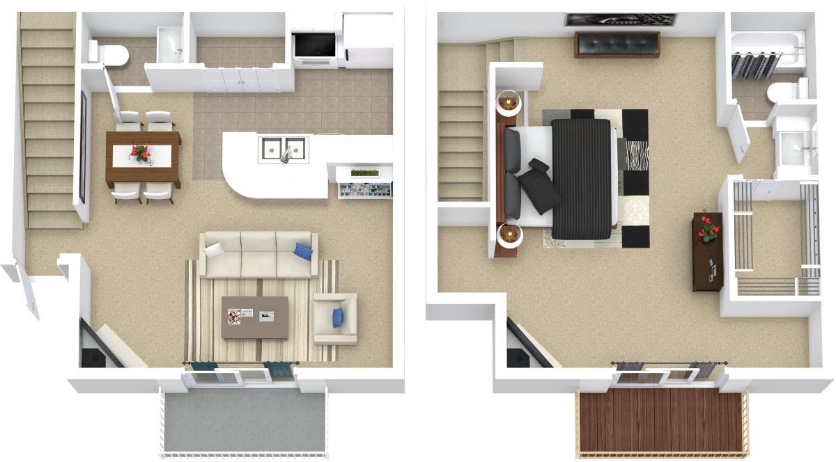 832 sq. ft. A5 floor plan