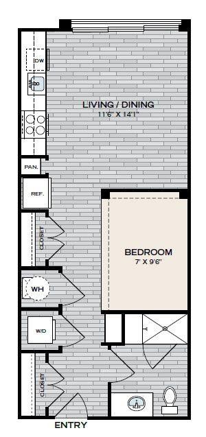 508 sq. ft. E1 floor plan