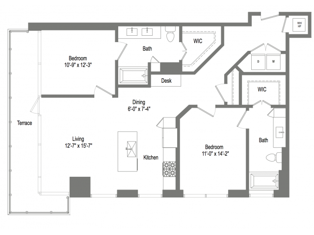 1,206 sq. ft. B4 floor plan