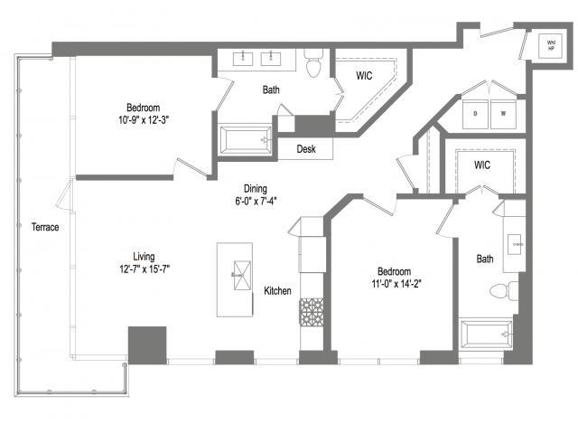 1,206 sq. ft. B4 floor plan