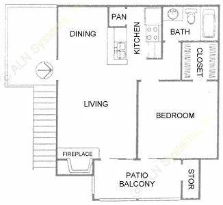 575 sq. ft. A2 floor plan